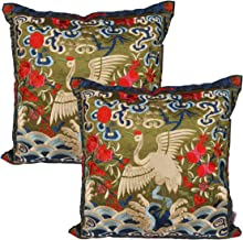Queenie - 2 Pcs Silky Oriental Chinese Phoenix Embroidered Decorative Throw Pillow Case Cushion Cover 17.25 x 17.25 Inch 44 x 44 cm (CS94 Green)