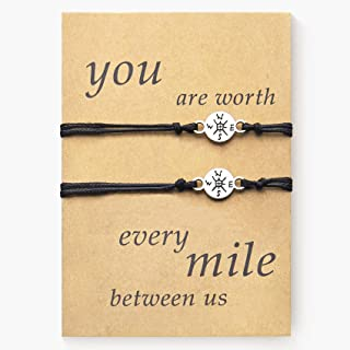 DESIMTION Compass Couples Gifts for Boyfriend Girlfriend Long Distance Matching Bracelets for Couple Him Her Sister Best F...