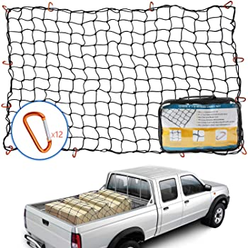 Small 5.5 Mesh Holds Small and Large Loads Tighter Orion Motor Tech 5x7 Super Duty Bungee Cargo Net for Truck Bed Stretches to 10x14 24 Tangle-Free D Clip Carabiners