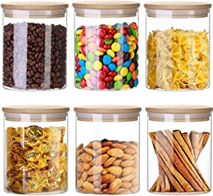 Gogenic 16oz Glass Jars for Food Storage, Airtight Food Containers with Bamboo Wooden Lids Kitchen Canisters For Sugar,Candy, Cookie, Rice and Spice Jar(Set of 6)