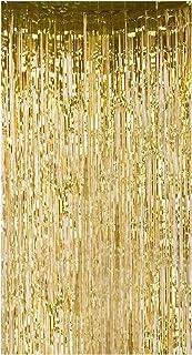Lelinta Metallischer Lametta Regenvorhang mit Fransen, für Hochzeit, Geburtstag, Fotohintergrund, 9,5 x 25,6 m, goldfarben, 2 Stück