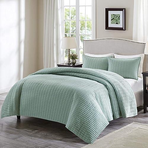 Comfort Spaces - Kienna Quilt Mini Set - 2 Piece - Seafoam - Stitched Quilt Pattern