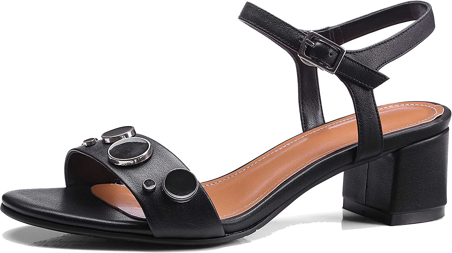 A-BUYBEA Women's Fashion 1.97  Chunky Low-Heeled Leather Sandal shoes Black Grey Size 4.5-9.5