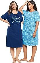 Dreams & Co. Women's Plus Size 2-Pack Short-Sleeve Sleepshirt
