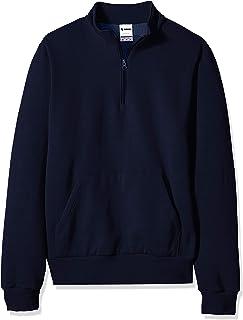 SOFFE mens Solid Mock Quarter Zip Sweatshirt Fleece Jacket