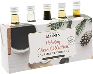 Monin - 5 Flavor Holiday Cheer Collection: Macadamia Nut, Peppermint, Dark Chocolate, Gingerbread, & Toasted Marshmallow, Vegan, Non-GMO, Gluten-Free (1.7 oz per bottle)