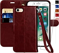 iPhone 7 Wallet Case/iPhone 8 Wallet Case,4.7-inch,MONASAY [Glass Screen Protector Included] Flip Folio Leather Cell Phone Cover with Credit Card Holder for Apple iPhone 7/8 (Burgundy with Strap)