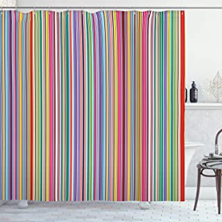 Lunarable Striped Shower Curtain, Colorful Vertical Stripes Geometric Arrangement Abstract Ornamental Line Desgin, Cloth Fabric Bathroom Decor Set with Hooks, 70