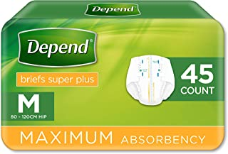 Depend Adult Care Briefs Super Plus, Bladder and Bowel Incontinence, Medium, Unisex (Pack of 45)