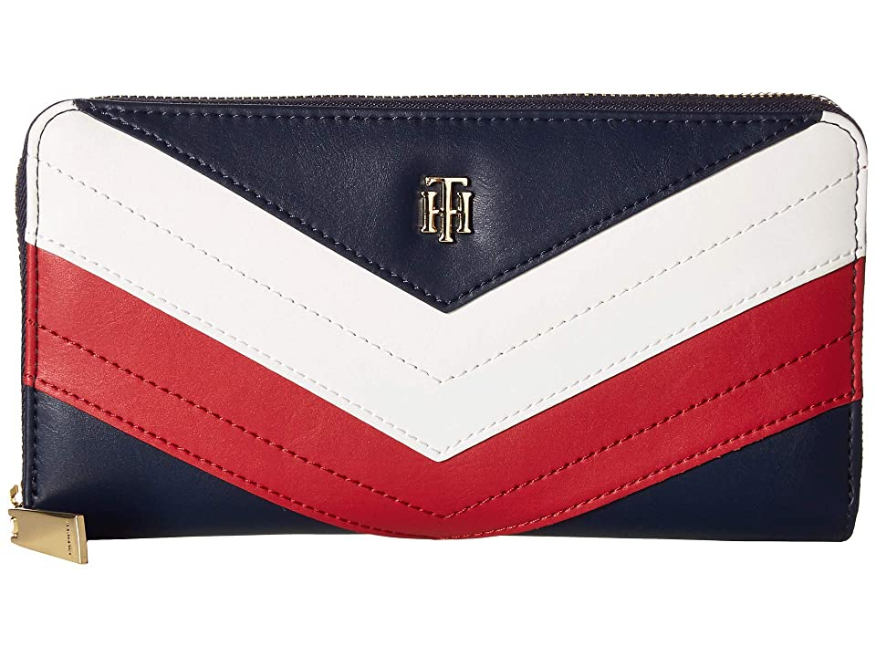 Tommy Hilfiger Corp Gift Large Zip Wallet (Navy/Red/White) Handbags