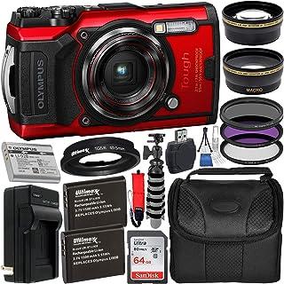 دوربین دیجیتال Olympus Tough TG-6 با بسته نرم افزاری جانبی Deluxe - شامل: کارت حافظه SanDisk Ultra 64GB SDXC + باتری های یدکی 2X با شارژر + گریپستر انعطاف پذیر + لوله آداپتور + بیشتر (قرمز)