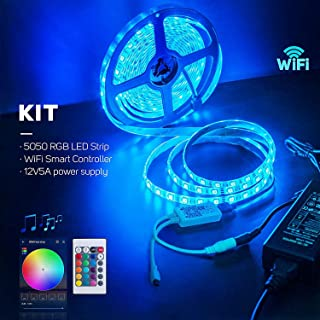 BTF-LIGHTING RGB 5050 Led Strip Kit. WiFi Wireless Smart Phone Controller + 16.4ft 300 LEDs 5050 SMD Waterproof IP65 RGB LED Lights + DC12V5A Power Adapter Working with Android and iOS System,Alexa
