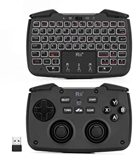 (Backlit Version)Rii RK707 3 in 1 Multifunctional 2.4GHz Wireless Portable Game Controller 62-Key Rechargeable Keyboard Mo...