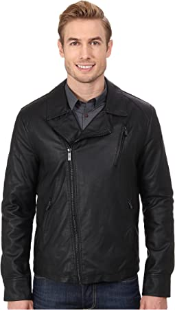 Asymmetrical Zip Front Faux Leather Hipster