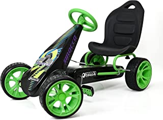 Hauck Sirocco - Racing Go Kart | Pedal Car | Low Profile Rubber Tires | Pedal Power auto-Clutch Free-Ride | Adjustable seat - Green
