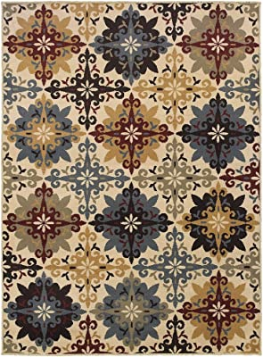 Christopher Knight Home CK-A7106 Savannah Floral Cross Panel Indoor Area Rug 7ft 10in X 10ft Ivory,Multi