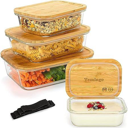 Récipient en Verre boîtes Alimentaires pour Conservation Lot de 8 Pièces (4 récipients + 4 couvercles) Boîtes en Verre avec Couvercle en Bambou - sans BPA