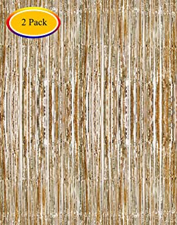 Moohome 2 Pack 3ft x 8ft Champagne Gold Foil Curtains Metallic Tinsel Fringe Curtains Shimmer Door Window Curtain Backdrop for Birthday Wedding Bridal Shower Baby Shower Photo Booth Party Decorations