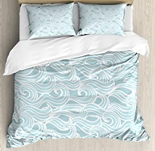 Ambesonne Aqua Duvet Cover Set, Abstract Ikat Frame Antique Victorian Style Floral Leaves Details Art Print, Decorative 3 Piece Bedding Set with 2 Pillow Shams, Queen Size, Seafoam White