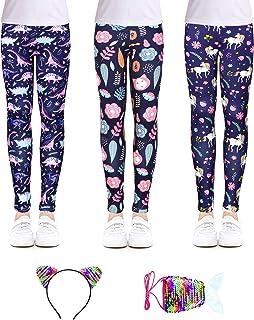Sponsored Ad - slaixiu Girls Leggings Stretchy Kids Pants Classic Printing Flower Pattern