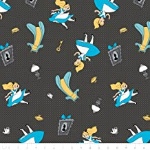 Disney Alice in Wonderland Falling into Wonderland In Carbon Fabric From Camelot By the Yard