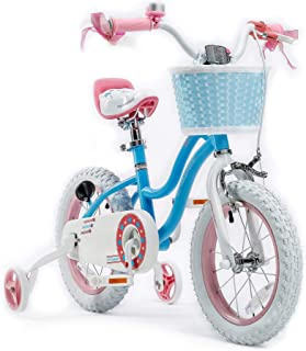 RoyalBaby Girls Kids Bike Stargirl 12 14 16 18 Inch Bicycle for 3-8 Years Old Child's Cycle with Basket Training Wheels or Kickstand Bike Pink Blue