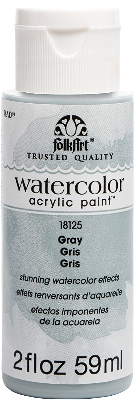 FolkArt 18125 Watercolor Acrylic Paint, 2 oz, Gray