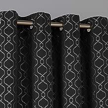 Deconovo Cortinas Opacas con Aislante Térmico para Ventanas Dormitorio Moderno con Anillas con Motivo Morroquí 2 Piezas 140 x 245 cm Negro