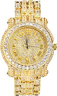 Men's 45mm Iced Out Metal Band Watch, Analog Display w/Simulated Cubic Zirconia Crystals - Quartz Movement - Adjustable (Available in Gold and Silver)