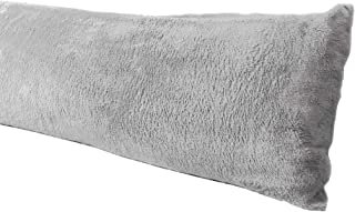 Truworth Bedding Extra Soft Body Pillow Cover, Sherpa/Microplush Material, 20x54 Inches, Zipper Closure (Gray)