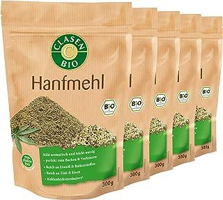 5x CLASEN BIO Hanfmehl, fein gemahlen, ideal zum Backen, reich an Eiweiß - 300 g