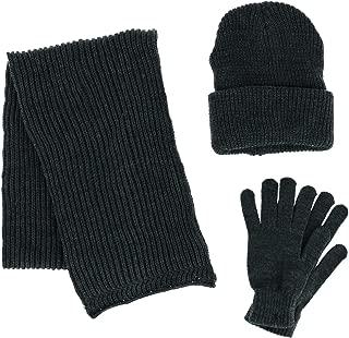 CTM Men's 3 Piece Scarf Hat and Glove Winter Set