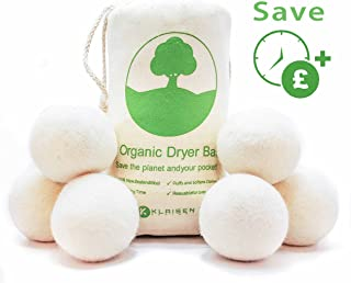 6 XL Organic Tumble Dryer Balls, 100% New Zealand Wool (A+++ Energy Rating), Save Money, Time and the Environment. Nature's Fabric Softener. Handmade, naturally softens and fluffs your clothes