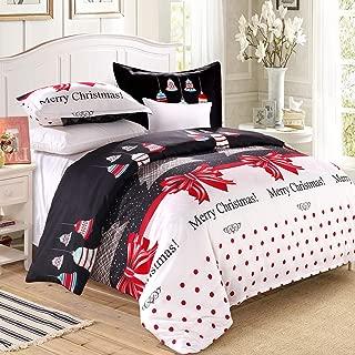 LAMEJOR Duvet Cover Set Queen Size Christmas Theme Merry Christmas/Christmas Tree/Bells Pattern Holiday Season Luxury Reversible Bedding Set Comforter Cover(1 Duvet Cover+2 Pillowcases)