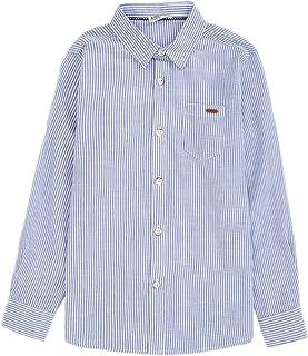 DeFacto Boy's - Camicia a maniche lunghe con maniche a righe, 100% cotone, a maniche lunghe, per ragazzi