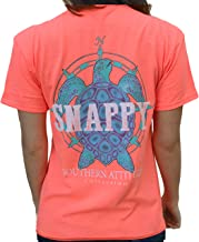 Southern Attitude Nautical Compass Snappy Turtle Heather Coral Short Sleeve T-Shirt