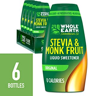 WHOLE EARTH SWEETENER Liquid Stevia and Monk Fruit Sweetener, Liquid Stevia Drops, Erythritol Sweetener Sugar Substitute, Zero Calorie Stevia Extract for Coffee and Tea, 1.62 Fluid Ounces (Pack of 6)