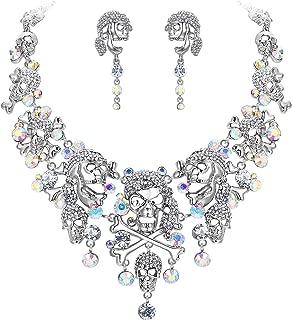EVER FAITH Austrian Crystal Vintage Style Halloween Skull Bone Cross Necklace Earrings Set