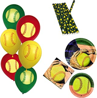 Havercamp Girl's Fastpitch Dinnerware Set | Dinner & Dessert Plates, Luncheon Napkins, Balloons, Straws | Great for Sports Themed Event, Victory Party, Varsity Banquet, Picnic, Athlete's Birthday