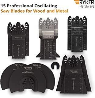 15 Wood/Metal Professional Oscillating Multi Tool Quick Release Saw Blades for Fein Multimaster, Dremel Multi-Max, Dewalt, Craftsman, Ridgid, Makita, Milwaukee, Rockwell, Ryobi, and More