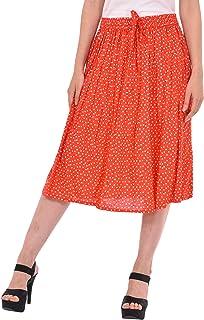 COTTON BREEZE Women's A-line Skirt (Red)