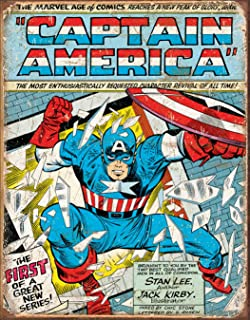 Desperate Enterprises Marvel Comics Captain America Comic Cover Tin Sign, 12.5