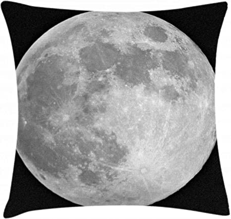 Amazon Com Ambesonne Moon Throw Pillow Cushion Cover Black And White Full Moon Detailed Photography Of Heavenly Space Themed Image Decorative Square Accent Pillow Case 24 X 24 Pale Grey Home Kitchen