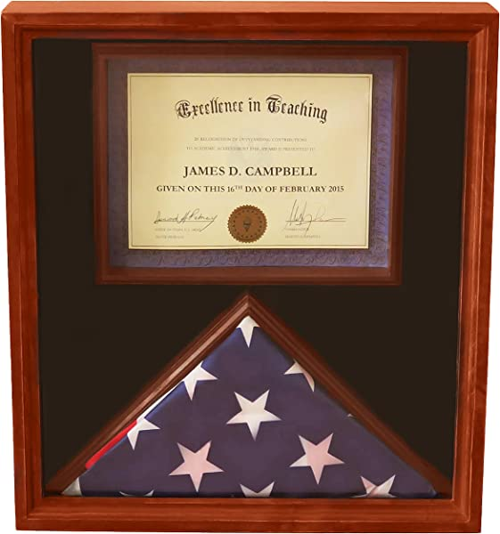 DECOMIL 3x5 Flag Display Case With Certificate Document Holder Big Frame