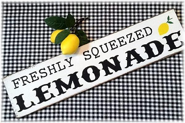 Freshly Squeezed Lemonade Lemon Kitchen Decorvintage Wood Sign Rustic Wooden Signs Wood Block Plaque Wall Decor Art Home Decoration 3x18 Inch