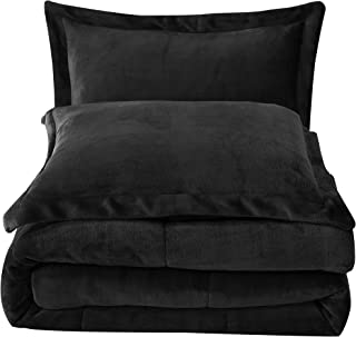 Chezmoi Collection FS200 3-Piece Micromink Sherpa Reversible Down Alternative Comforter Set (King, Black)