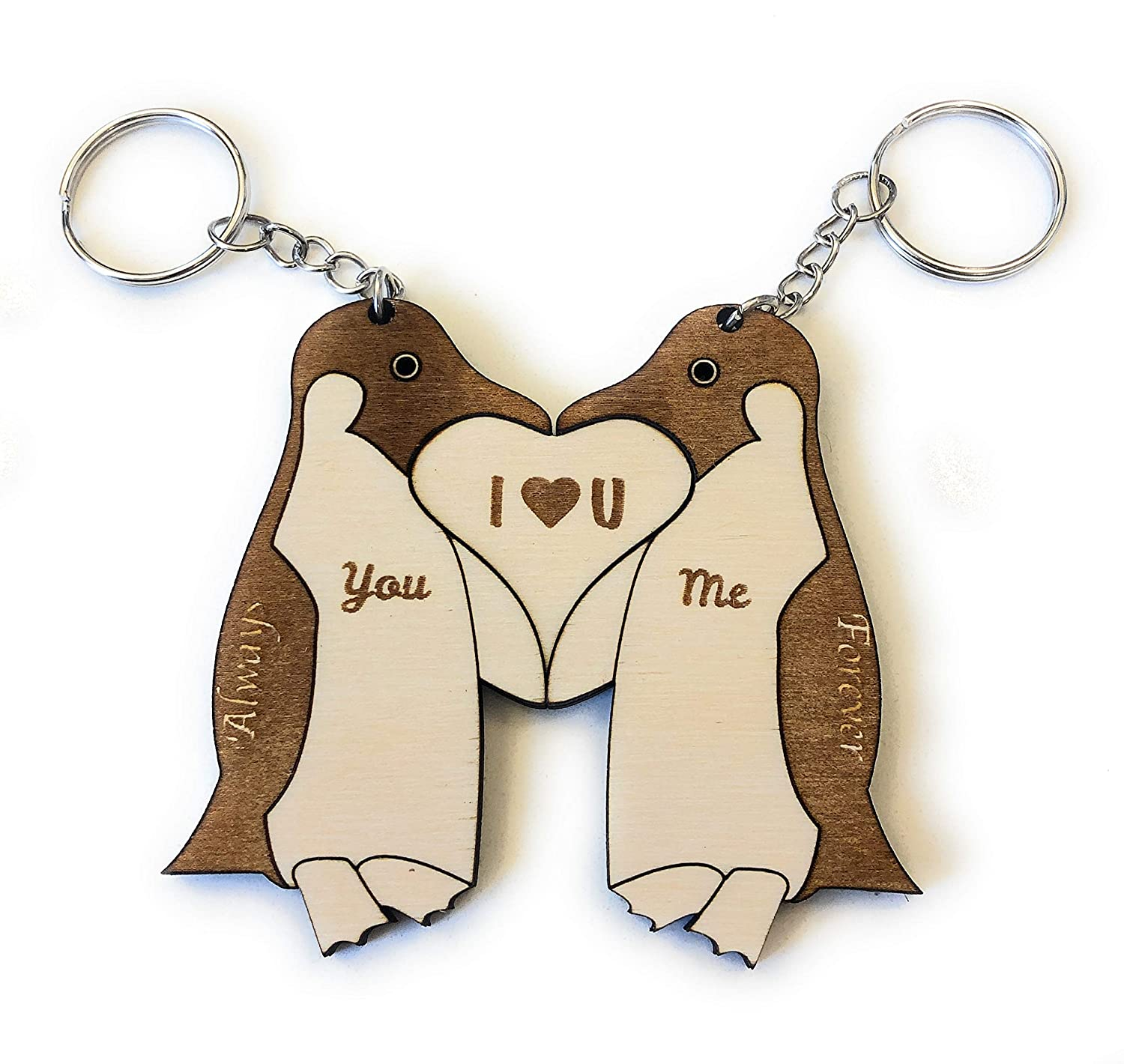 Personalized NEW before Max 64% OFF selling ☆ Penguin Couple Keychain - Vale heart Forms 2pc a
