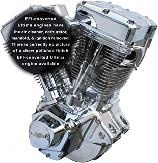 Ultima El Bruto Competition Series EFI-Converted Evolution Style Long Block Motorcycle Engine (Chrome & Show Polished Finish, 127 Cubic Inches)