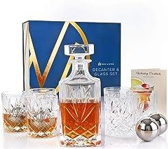 Nou Living 11 Pc Crystal Whiskey Decanter Set with Glasses – Classic Whiskey Decanter and Glass Set of 6 – Crystal Liquor ...
