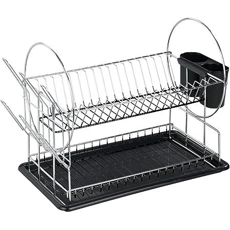 WENKO Égouttoir pour vaisselle Premium Duo, Métal chromé, 50x 36 x 24 cm, Argent brillant